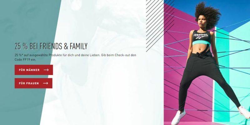 Reebok Family & Friends Aktion: 25% Gutschein auf ausgewählte Artikel