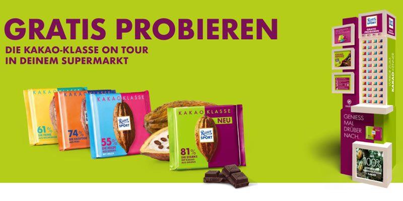 Gratis Ritter Sport Schokolade Kakao Klasse probieren am Automaten