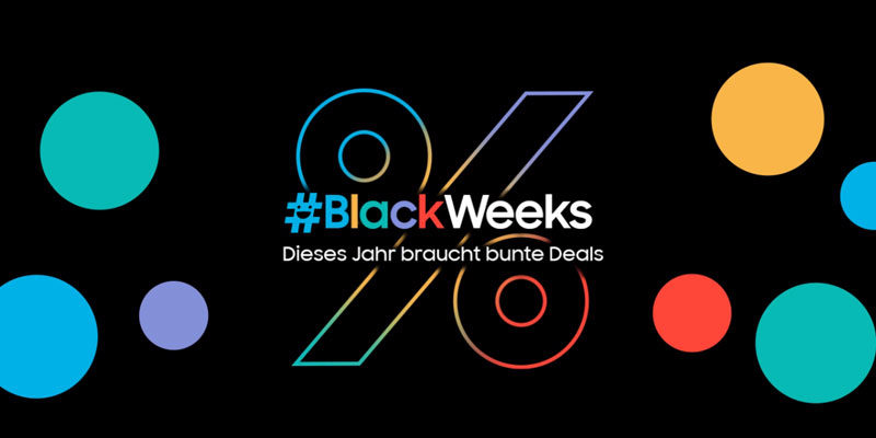 Samsung Black Week 2020: z.B. Samsung Galaxy Tab S5e für 319€, Galaxy Watch Active 2 40mm für 169€, Galaxy Buds+ für 79€