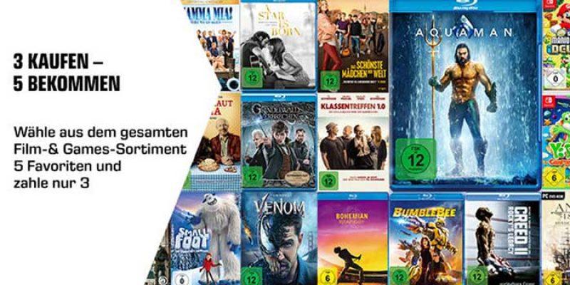 Saturn 5 für 3 Entertainment Aktion: 3 Games & Filme kaufen + 2 geschenkt