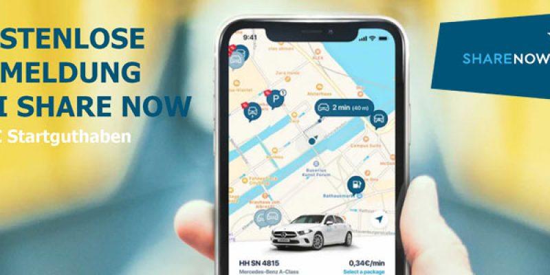 Share Now Anmeldung kostenlos (ehemals Car2Go) + 5€ Startguthaben Promocode