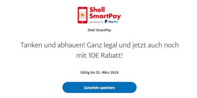 10€ Shell SmartPay Gutschein (kostenlos tanken) bei Zahlung mit PayPal über die Shell App