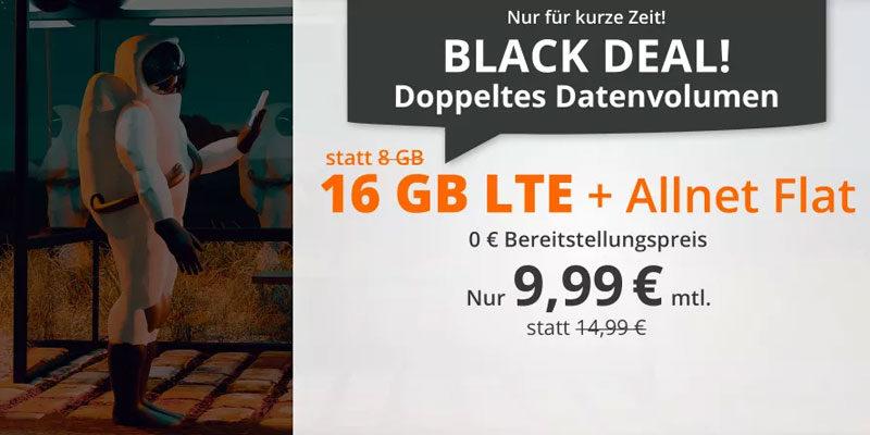 sim.de LTE All Tarife – z.B. 16 GB LTE + Allnet-Flatrate für 9,99€/Monat [Cyber Deal]