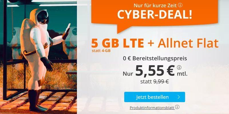 sim.de LTE All Tarife – z.B. 5 GB LTE + Allnet-Flatrate für 5,55€/Monat [Cyber Deal]