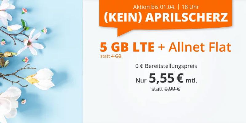 sim.de LTE All Tarife – z.B. 5 GB LTE + Allnet-Flatrate für 5,55€/Monat