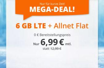 sim.de LTE All Tarife – z.B. 6 GB LTE + Allnet-Flatrate für 6,99€/Monat
