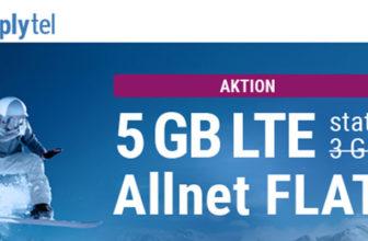 simply LTE 3000 Tarif (All-Net-Flat + 5 GB LTE) für 6,99€/Monat