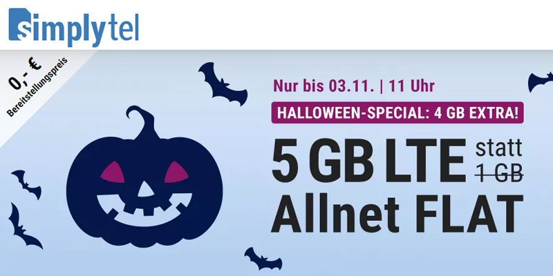 simply LTE 1000 Handytarif (5 GB LTE & All-Net-Flat) für 6,66€ [Halloween Special]