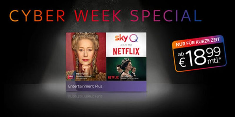 Sky Cyber Week Special: Sky Entertainment + Netflix für 18,99€