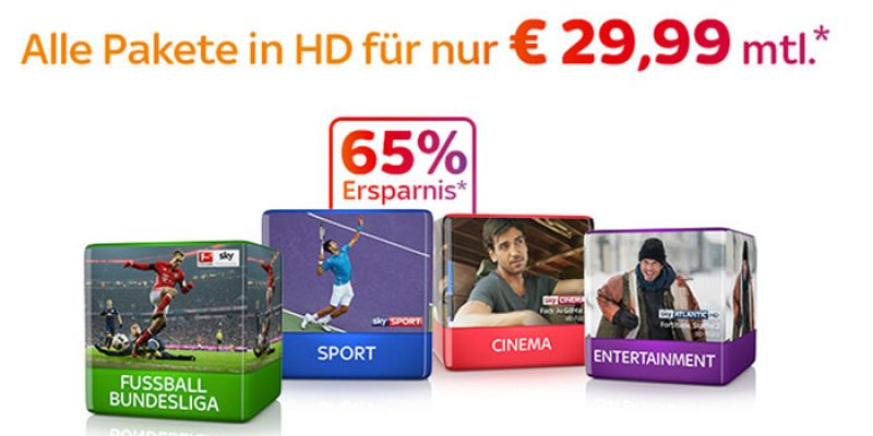 Sky Komplettpaket (Cinema, Entertainment, Sport & Bundesliga) + HD Premium + Sky Go für 29,99€