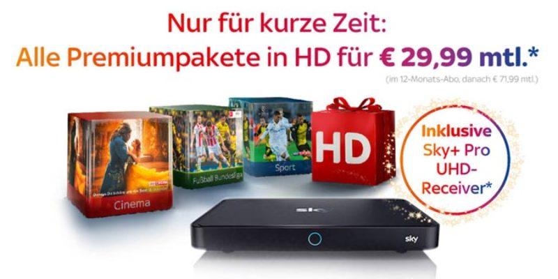 Sky Weihnachtsangebot: Komplettpaket (Sport, Bundesliga, Entertainment & Cinema) inkl. HD & Sky Go für 29,99€/Monat