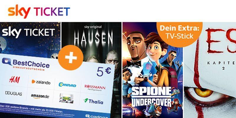 Sky Ticket + 5€ Amazon Gutschein – z.B. Sky Entertainment für 7,50€