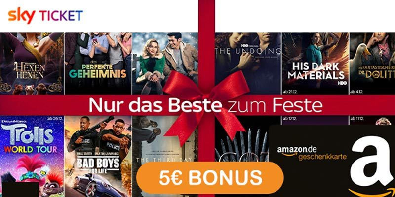 Sky Ticket + 5€ Amazon Gutschein – z.B. Sky Entertainment für 7,49€