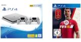 Sony Playstation 4 Bundle: Slim Konsole mit 500 GB (silber) + 2x Controller + FIFA 18 für 279€