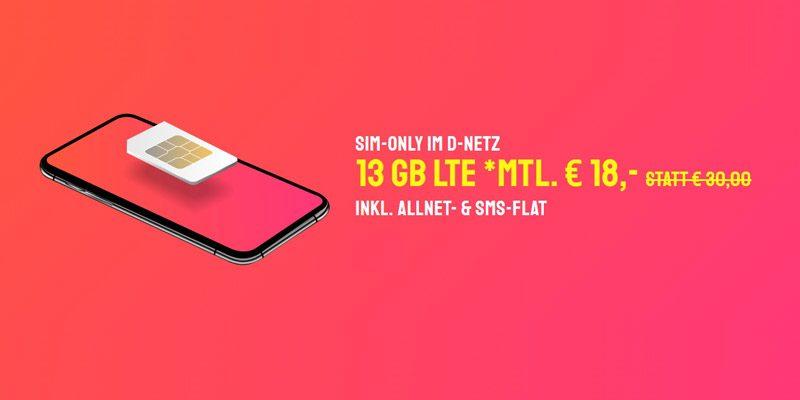 Sparhandy HIGH Tarif (Telekom Netz, 13 GB LTE & Allnet-Flat) für 18€/Monat