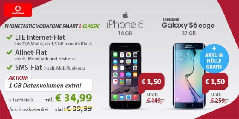 Samsung Galaxy S6 Edge oder iPhone 6 ab 34,99€/Monat bei Sparhandy