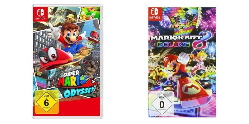 Günstige Nintendo Switch Spiele: Super Mario Odyssey oder Mario Kart 8 Deluxe für 42,88€