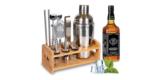 Supersun Cocktail Set mit Shaker, Messbecher und Holzständer für 21,99€