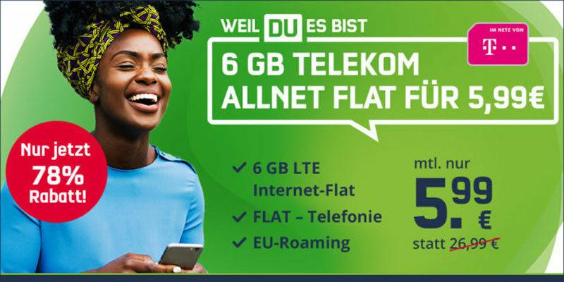 Mobilcom-Debitel Telekom Green LTE 6 GB Tarif ohne Smartphone für 5,99€/Monat