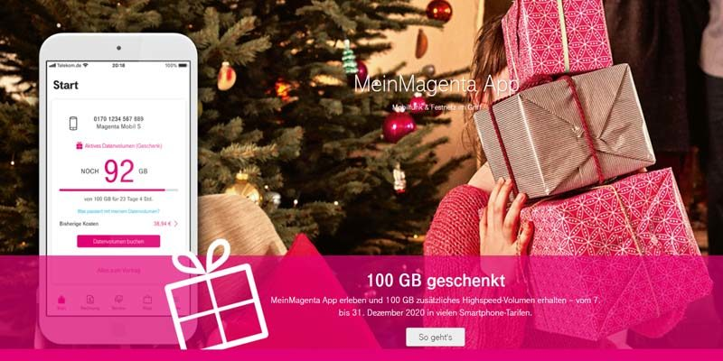 Telekom Aktion: 100 GB gratis Datenvolumen über MeinMagenta App