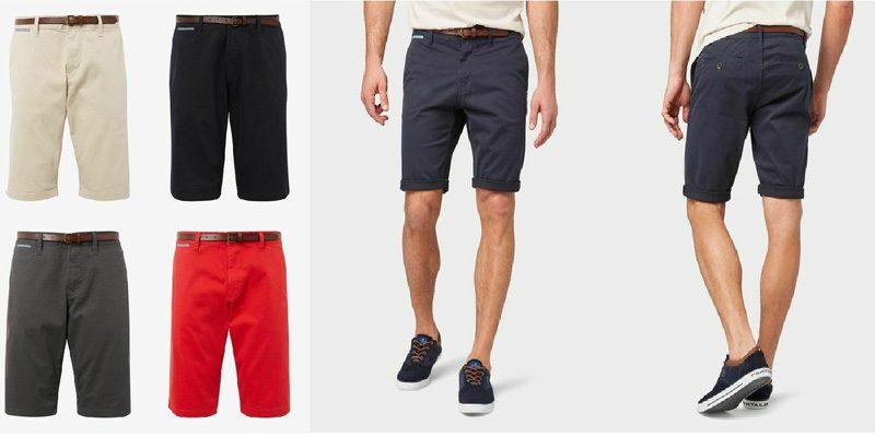 Tom Tailor Herren Chino Shorts in versch. Farben mit Gürtel für 19,90€