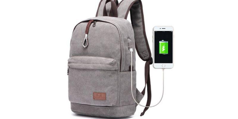 Travistar Canvas Laptop Rucksack mit USB Ladeport (auch 15,6 Zoll) für 21,74€
