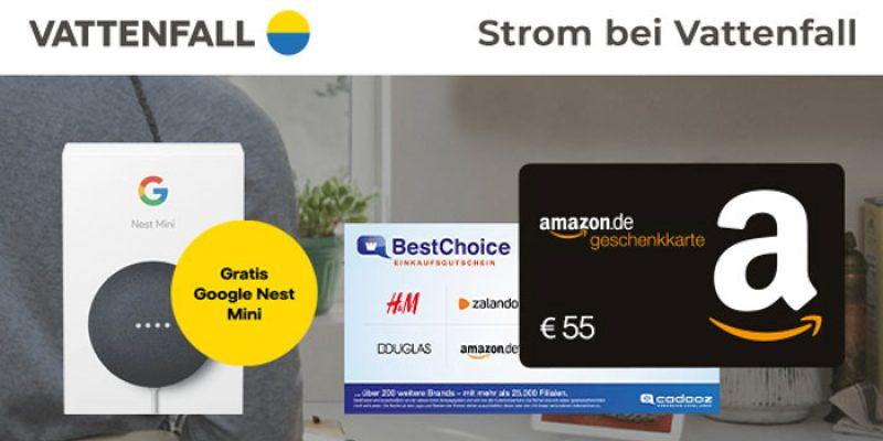 Vattenfall Strom Deal: 55€ BestChoice-/Amazon Gutschein + Google Nest Mini