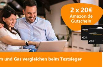 2x 20€ Amazon Gutschein für Strom- und Gas-Wechsel über Verivox