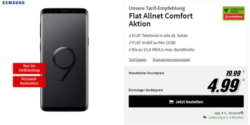Samsung Galaxy S9 im Vodafone Comfort Allnet Tarif für 19,99€/Monat