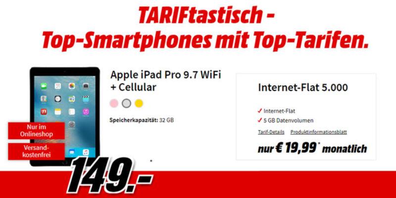 Vodafone Datenflat mit 5 GB für 19,99€/Monat + Apple iPad Pro 9.7 (WiFi + Cellular) für 149€