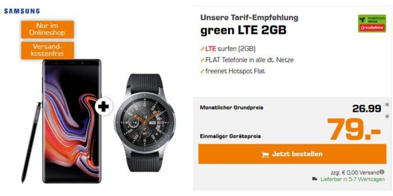 Vodafone Green LTE 2GB Tarif + Samsung Galaxy Note 9 & Galaxy Watch für 26,99€/Monat