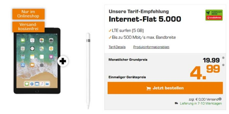 Vodafone Internet-Flat 5000 + Apple iPad 2018 & Apple Pencil für 19,99€/Monat