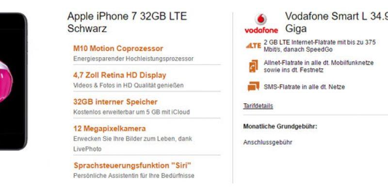 Apple iPhone 7 + Vodafone Smart L Giga Tarif für nur 36,99€/Monat!