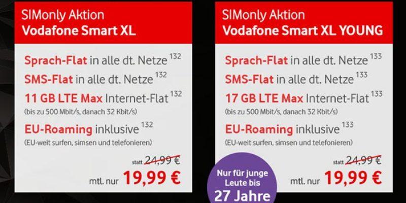 Vodafone Smart XL Sim-Only Tarif (11 GB LTE Volumen) für 19,99€/Monat