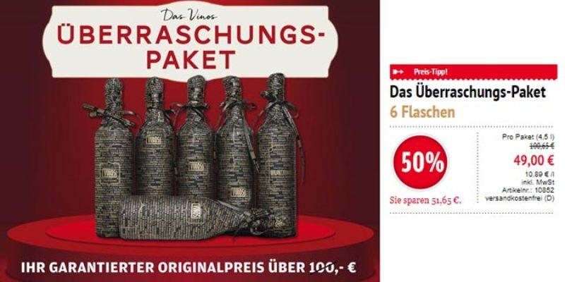 Wein & Vinos Überraschungspaket – 6 spanische Weine für 49€