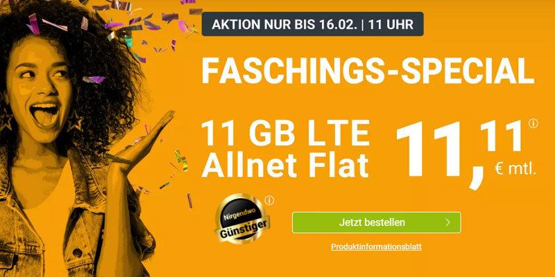 winSIM Karnevals-Special: 11 GB LTE & Allnet-Flatrate für 11,11€ pro Monat
