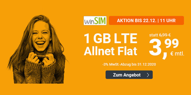 winSIM LTE All 1 GB (All-Net-Flat & 1 GB LTE) für 3,99€ pro Monat